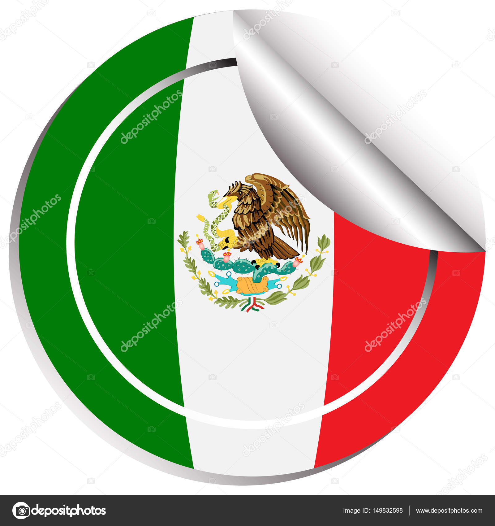 Mexiko Fahne Aufkleber Design — Stockvektor © interactimages #149832598