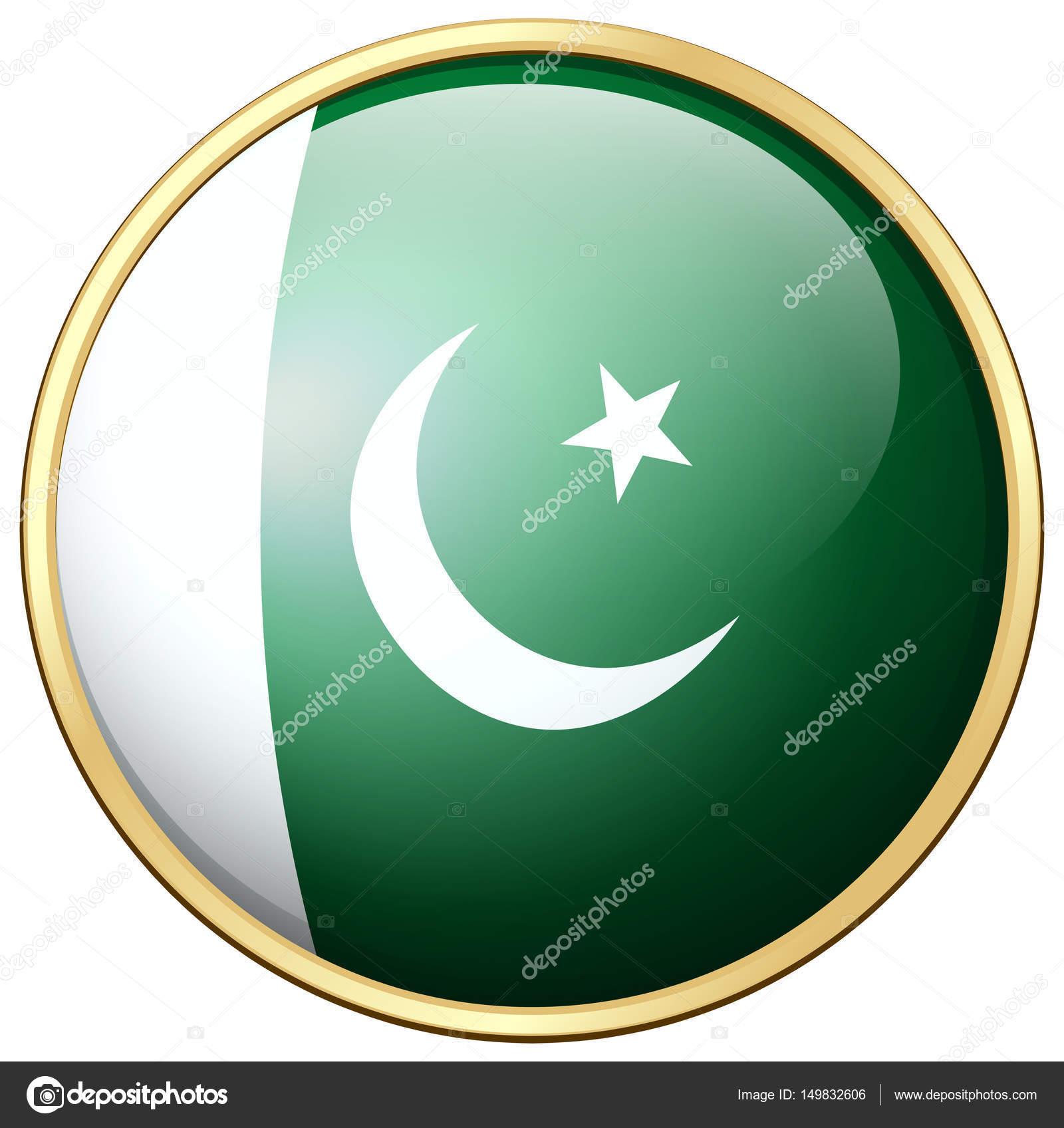 Pakistan-Flagge auf runden Rahmen — Stockvektor © interactimages ...