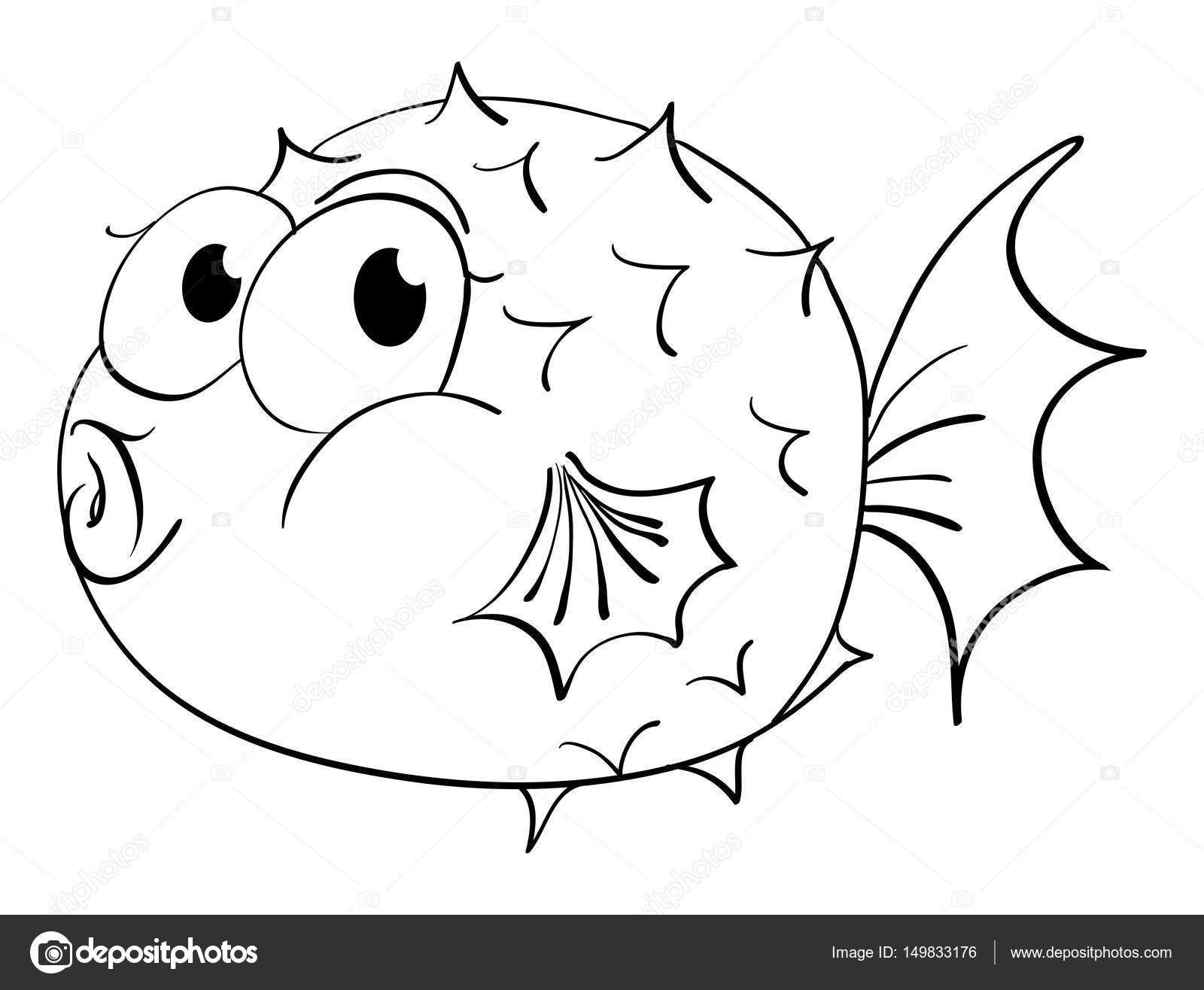 Animal outline for puffer fish stock vector for Disegno pesce palla