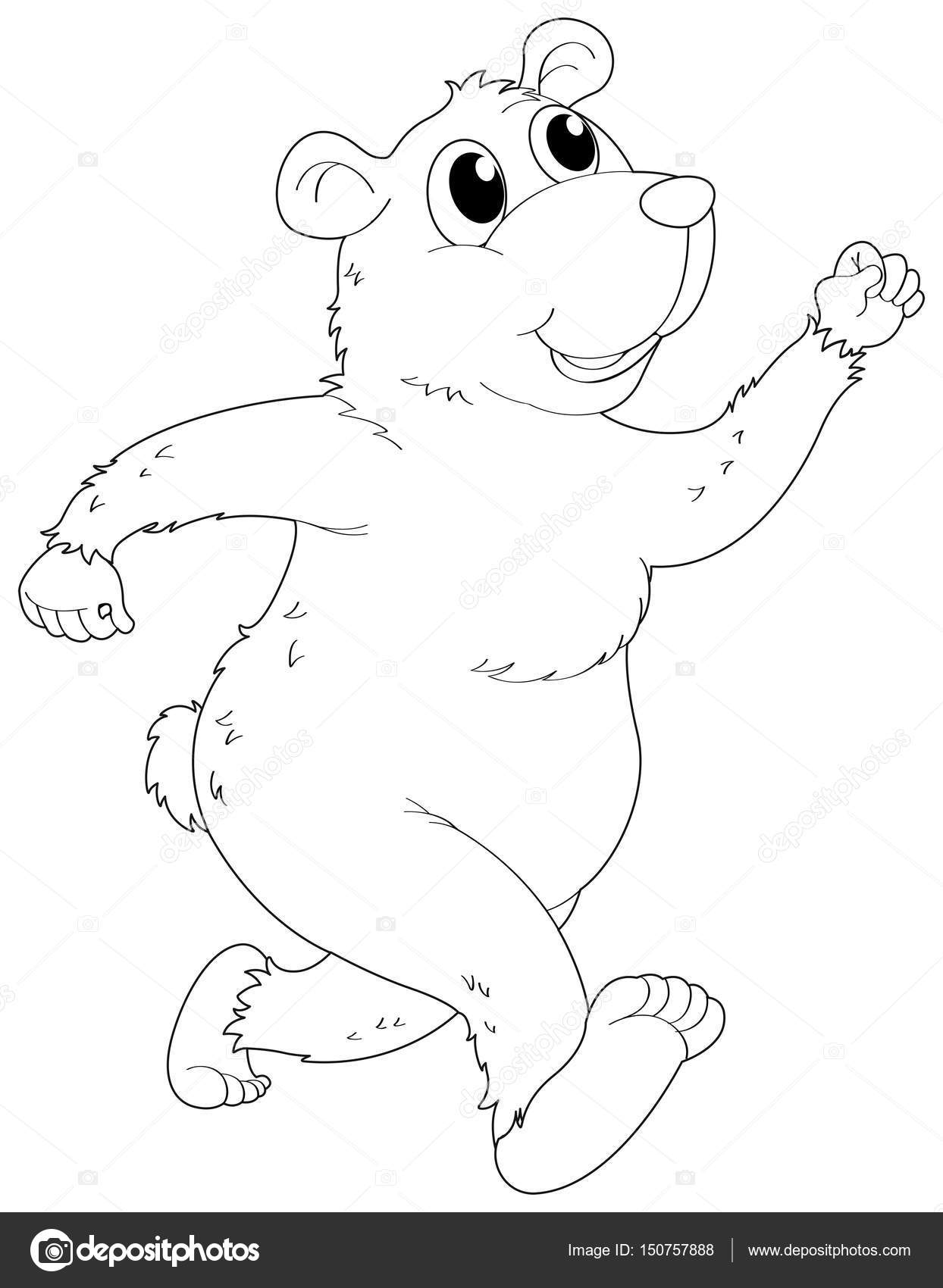 Carácter animal Doodle para el oso grizzly — Vector de stock ...