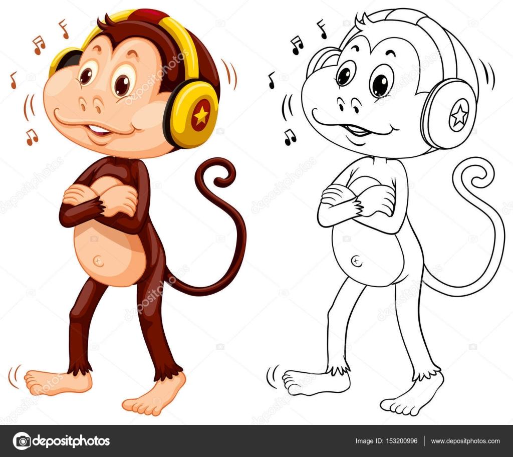 音楽を聴いて猿の動物の概要 — ストックベクター © interactimages