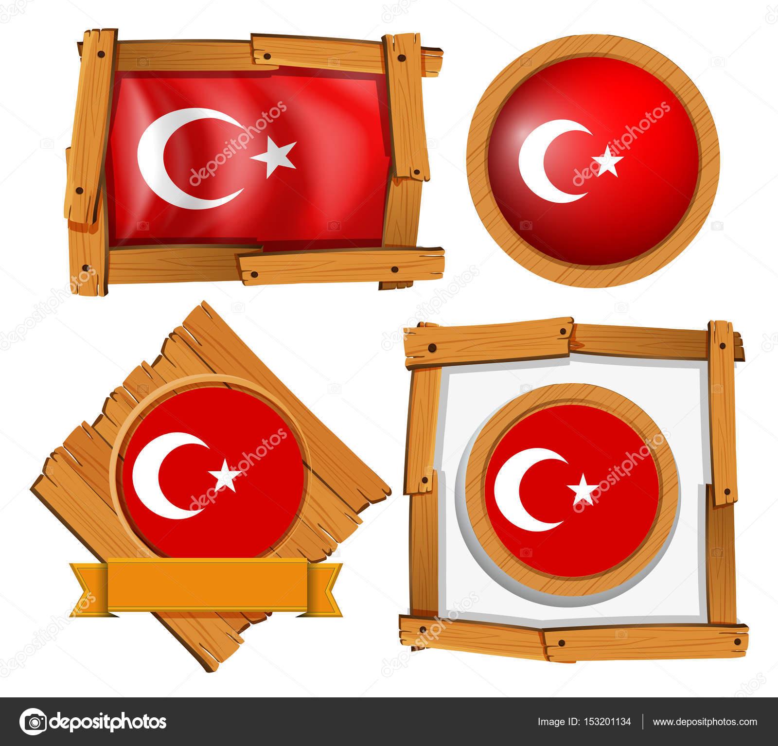 Different frame design for flag of Turkey — Stock Vector ...