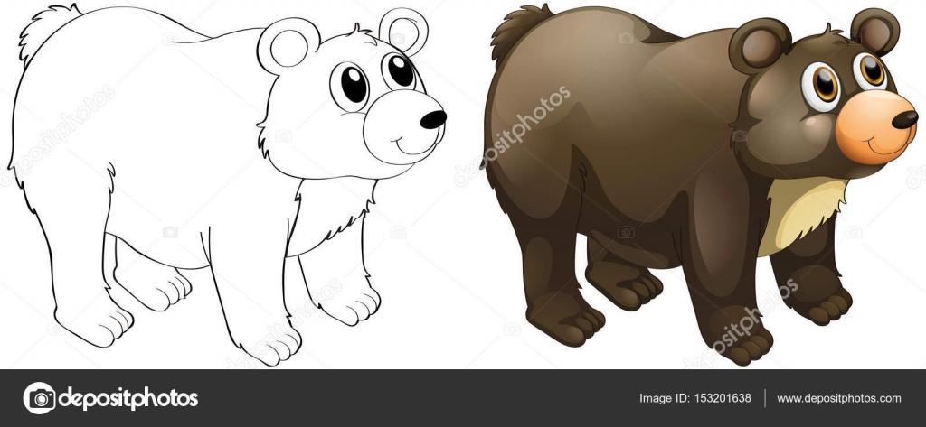 Animal esquema de oso lindo — Vector de stock © interactimages ...