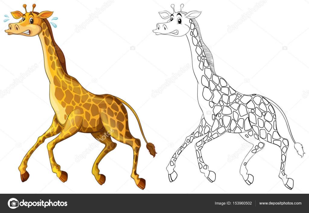 Doodle animal jirafa corriendo — Archivo Imágenes Vectoriales ...