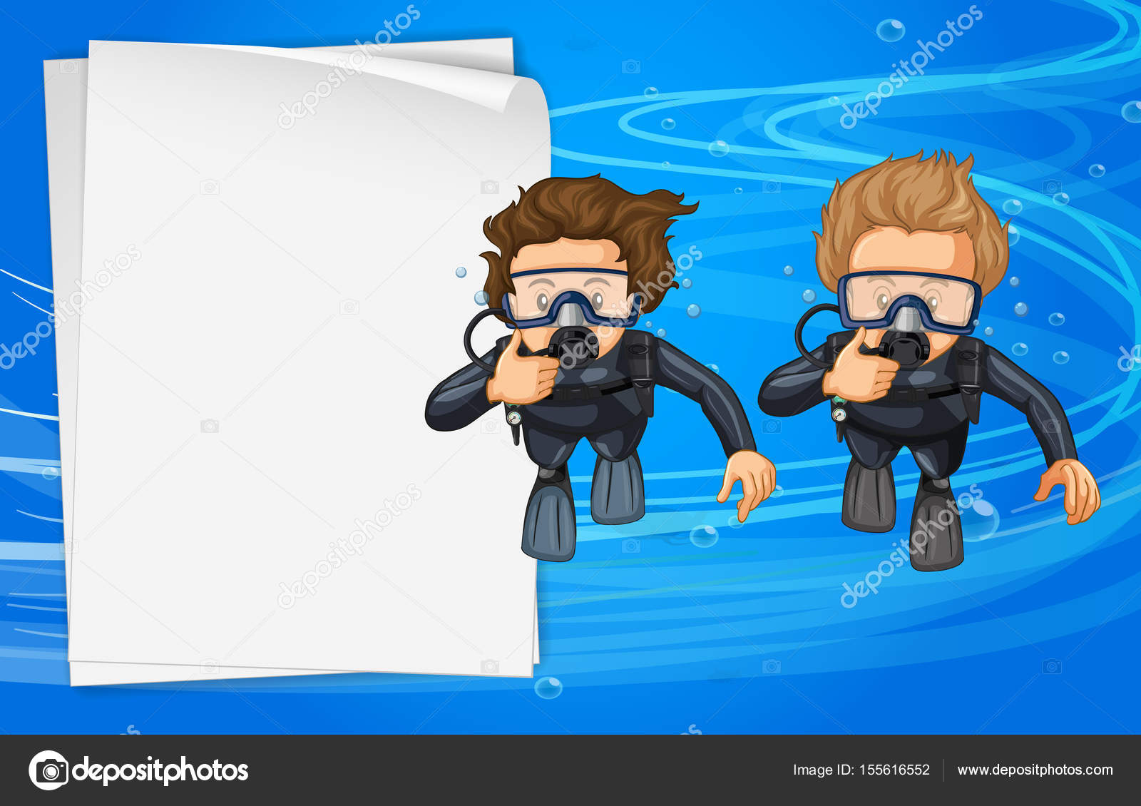 Paper Template With Two Scuba Divers Stock Vector