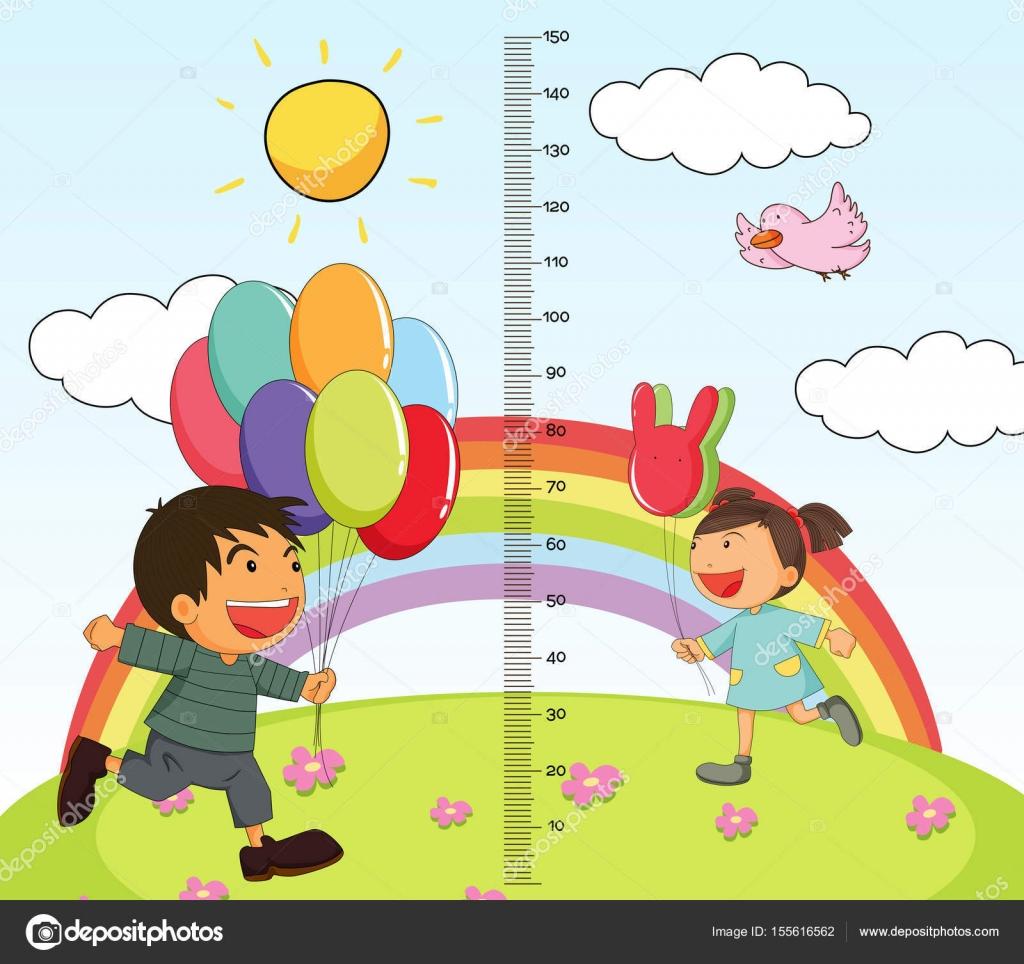 Wachstums-Mearsuring-Chart mit Mädchen und jungen im park ...