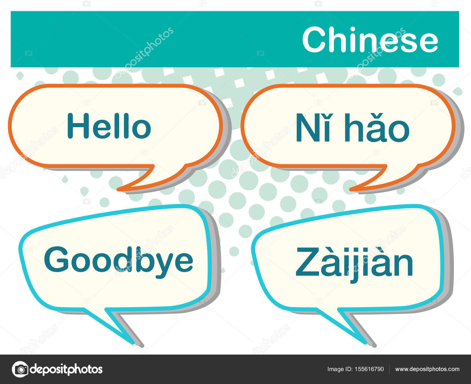 Greeting Words In Chinese Language Stock Vector Interactimages