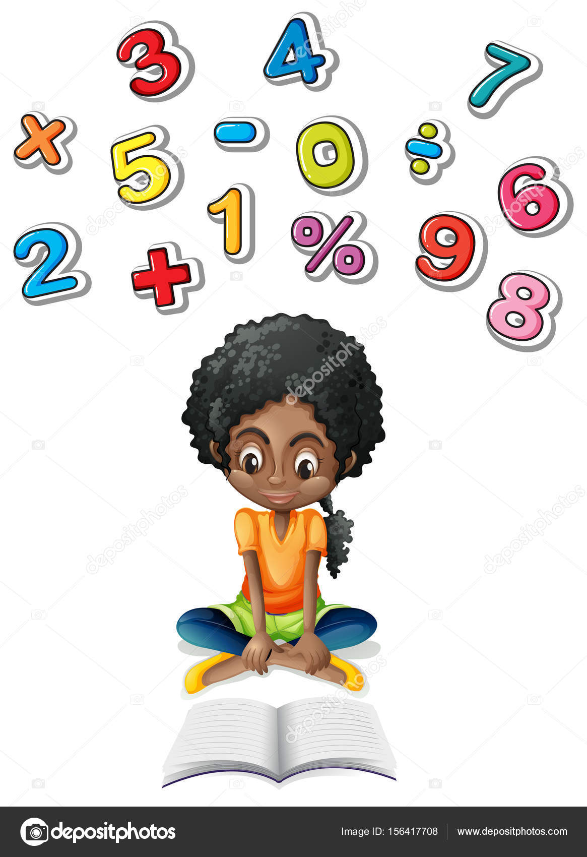 Little Girl Studying Math Stock Vector C Interactimages 156417708