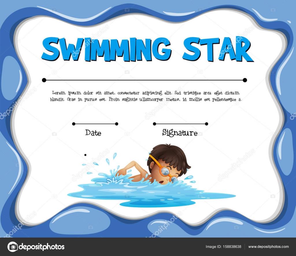 Sterne-Zertifizierung Vorlage mit Schwimmer schwimmen — Stockvektor ...