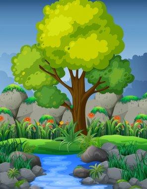 """Картина, постер, плакат, фотообои """"природная сцена с рекой в лесу пейзажи"""", артикул 158838308"""