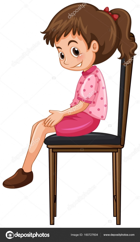 Küçük Kız Büyük Sandalyede Oturuyor Stok Vektör Interactimages