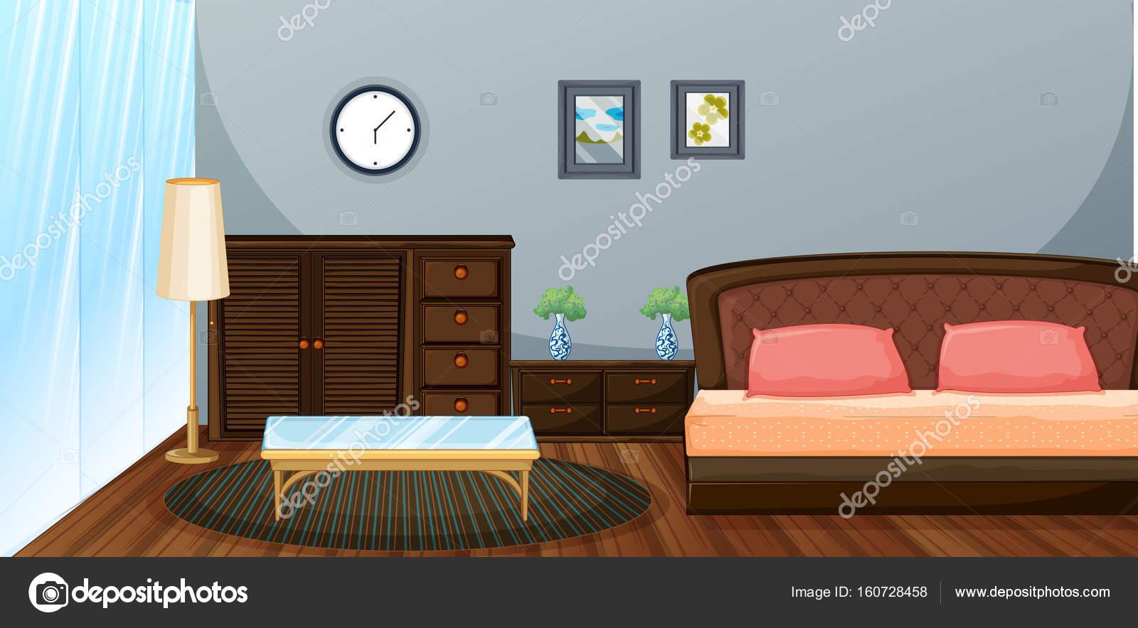 Design Slaapkamer Meubilair : Slaapkamer met houten meubilair u stockvector interactimages