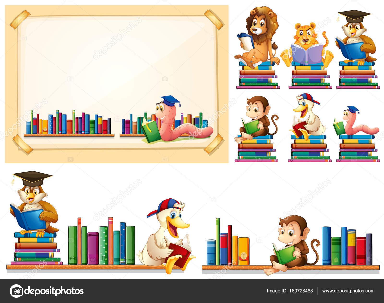 Marco de papel y muchos animales leer libros — Archivo Imágenes ...