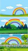 Tři scény park s rainbow