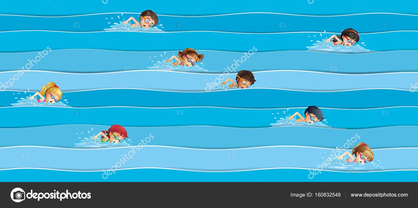 Kinder im Wettschwimmen — Stockvektor © interactimages #160832548