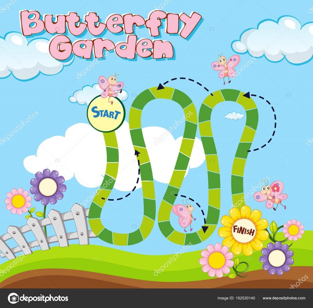 Brettspiel Vorlage mit Schmetterlingen im Garten — Stockvektor ...