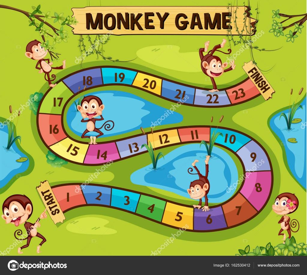 Brettspiel Vorlage mit Affen im Dschungel — Stockvektor ...