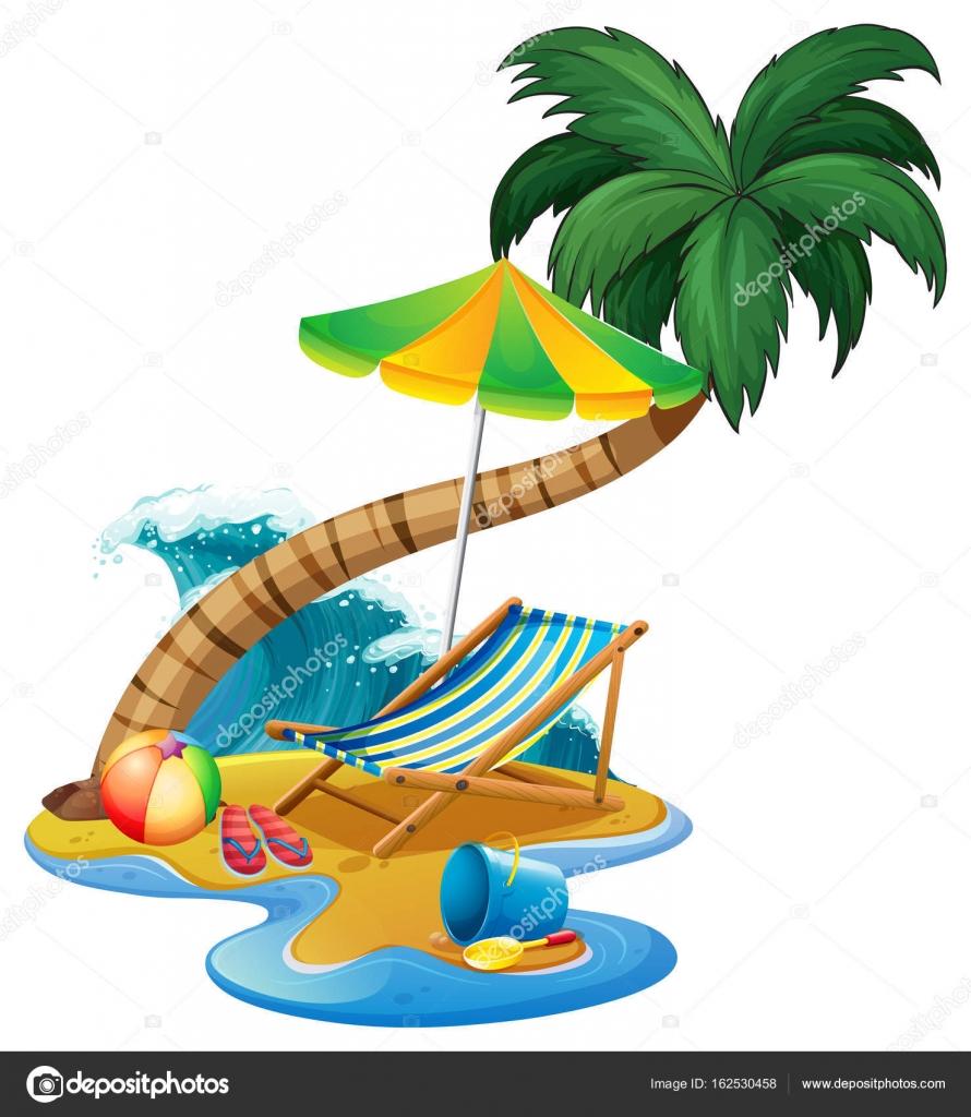 Sonnenschirm strand clipart  Strand-Szene mit Sitz und Sonnenschirm — Stockvektor ...
