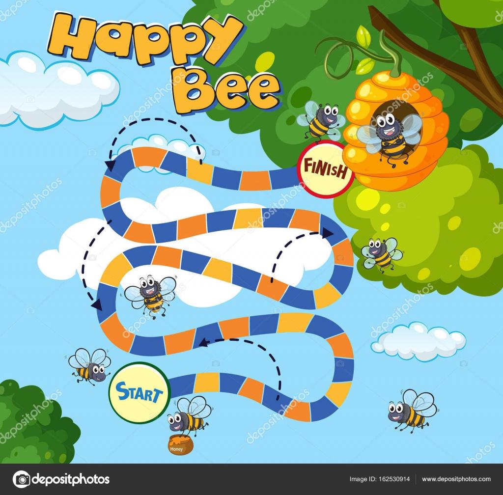 Brettspiel Vorlage mit Bienen fliegen — Stockvektor © interactimages ...
