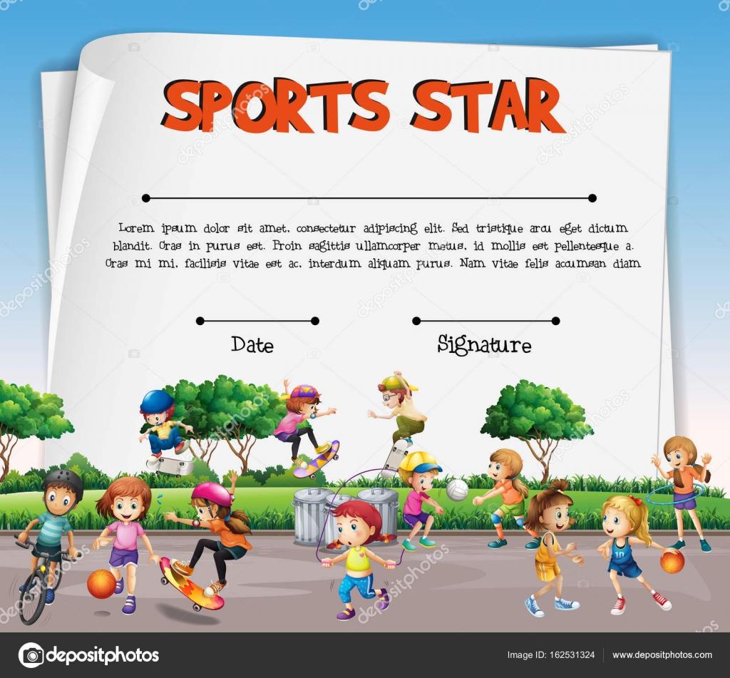 Sport Sterne Zertifikatvorlage mit Kindern beim Sport — Stockvektor ...