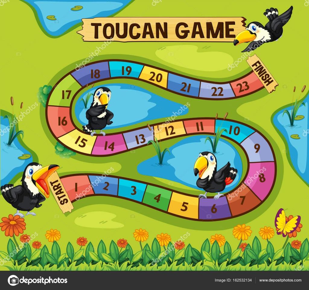 Brettspiel Vorlage mit Toucan Vögel im park — Stockvektor ...