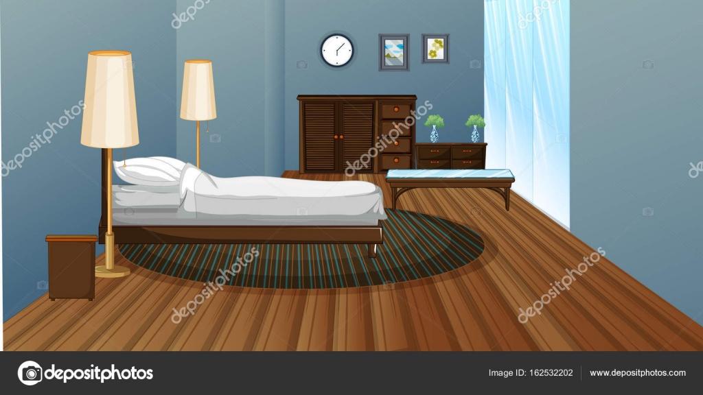Slaapkamer met houten vloer — Stockvector © interactimages #162532202