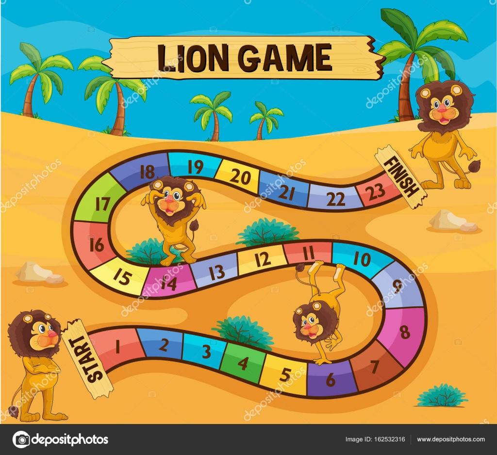 Brettspiel Vorlage mit Löwen in der Wüste — Stockvektor ...