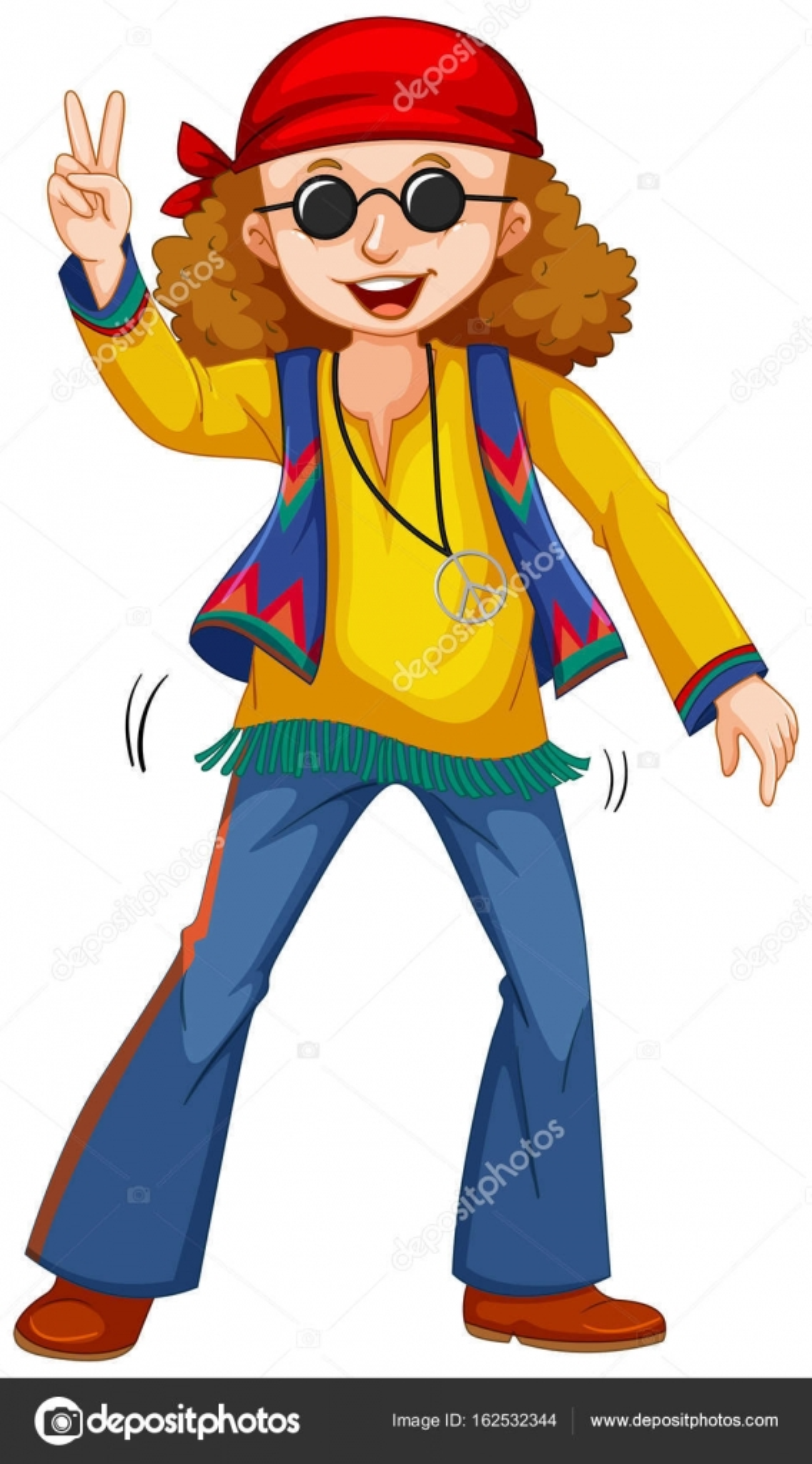 low priced ed6ba d9d77 Uomo felice in vestiti hippie — Vettoriali Stock ...