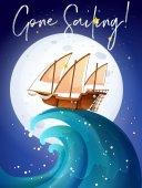 Vitorlás hajó az óceán jelenet