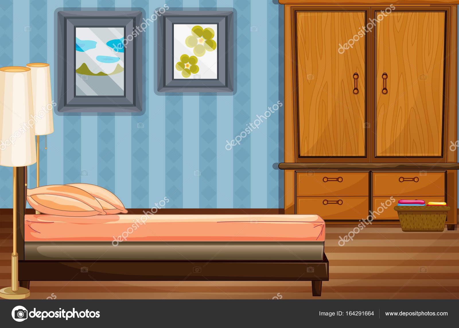 Houten Slaapkamer Kast : Slaapkamer scène met bed en houten kast u2014 stockvector