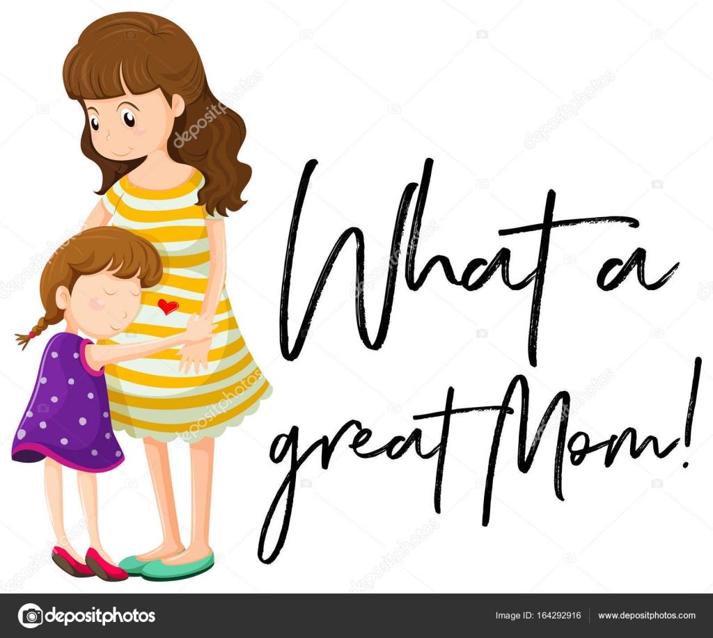 Mutter und Tochter mit Satz was eine tolle Mama — Stockvektor ...
