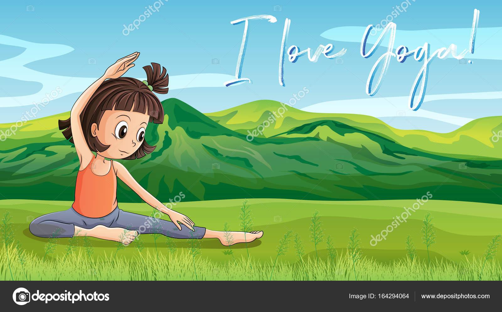 Chica Haciendo Yoga En El Parque Con Yoga De Amor Frase L Archivo
