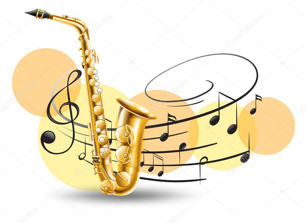 Saxophone Doré Avec Des Notes De Musique En Arrière-plan