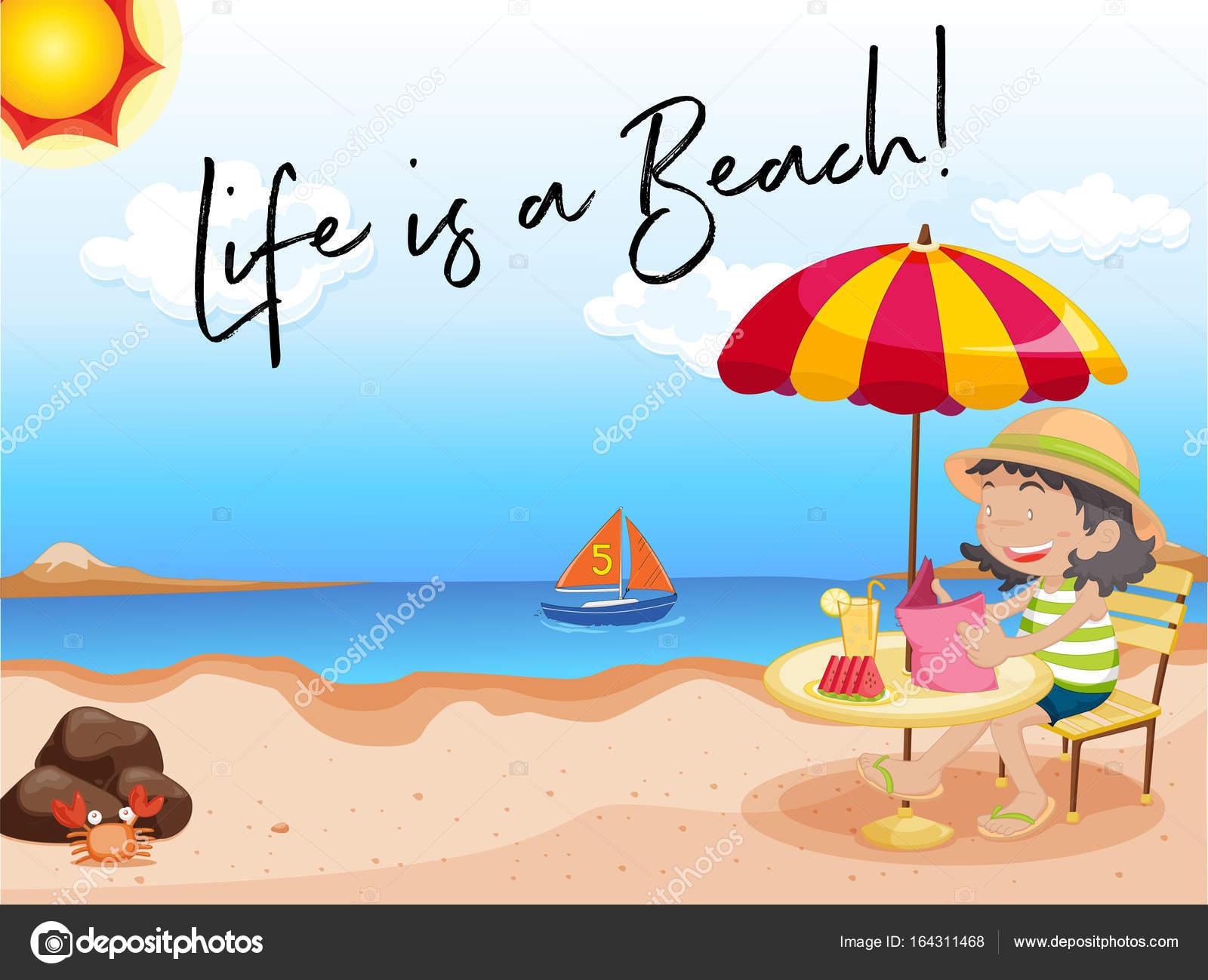 Foto Frases Sobre La Vida En La Playa Niña Se Sienta En