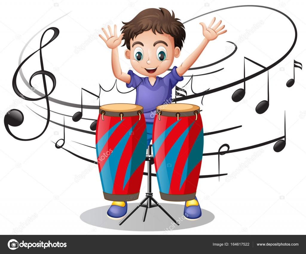 Boy Playing Drum With Music Notes In Background Illustration Vector By Interactimages