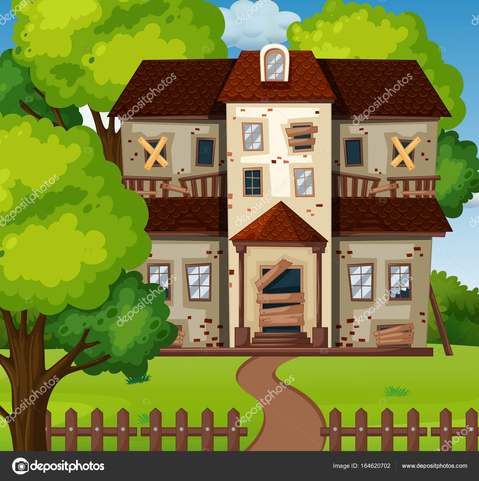 Old house with green garden — Stock Vector © interactimages #164620702