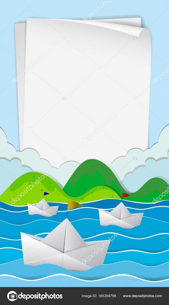 Paper Template With Boats At Sea Stock Vector