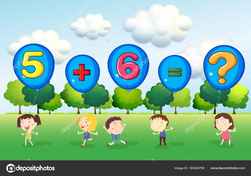 Mathe Arbeitsblatt mit Kinder im park — Stockvektor © interactimages ...
