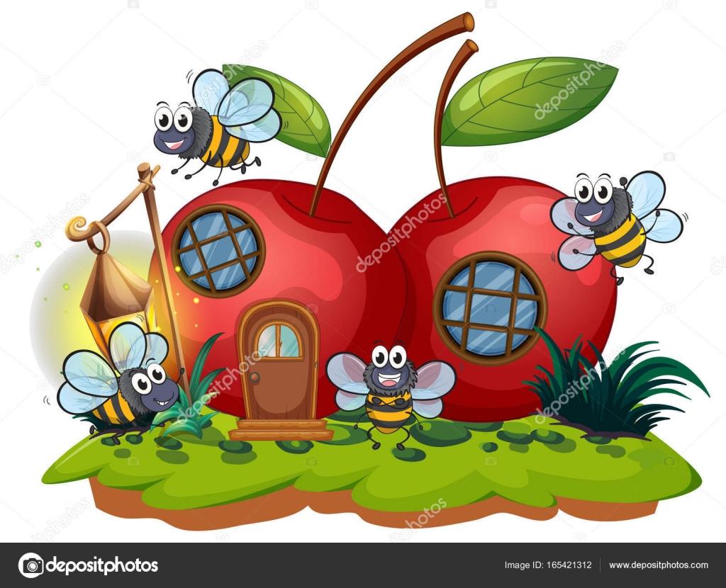 Kirsche Haus Und Viele Bienen Fliegen Stockvektor Interactimages