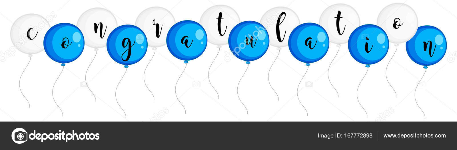 word congratulation on blue and white balloons stock vector