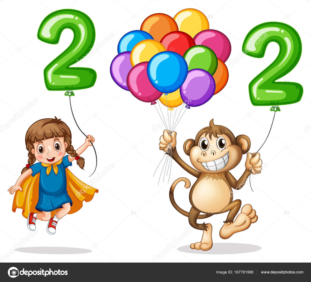 Mädchen und Affe mit Nummer zwei — Stockvektor © interactimages ...