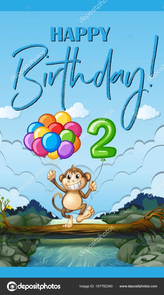 Gelukkige Verjaardag Kaart Met Aap En De Ballon Voor Twee Jaar Oud