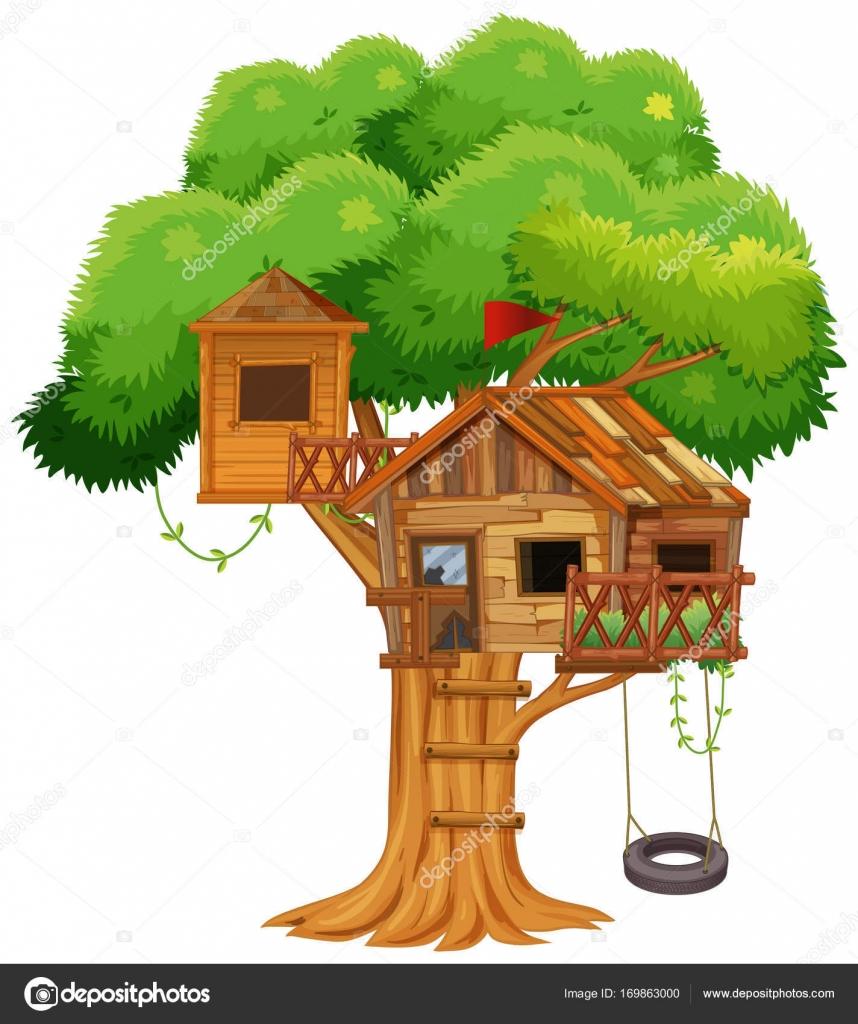 baumhaus mit schaukel am baum stockvektor interactimages 169863000. Black Bedroom Furniture Sets. Home Design Ideas