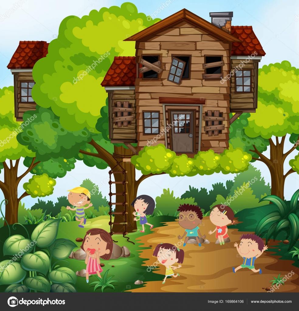 Kinder Und Baumhaus Im Park Stockvektor C Interactimages 169864106