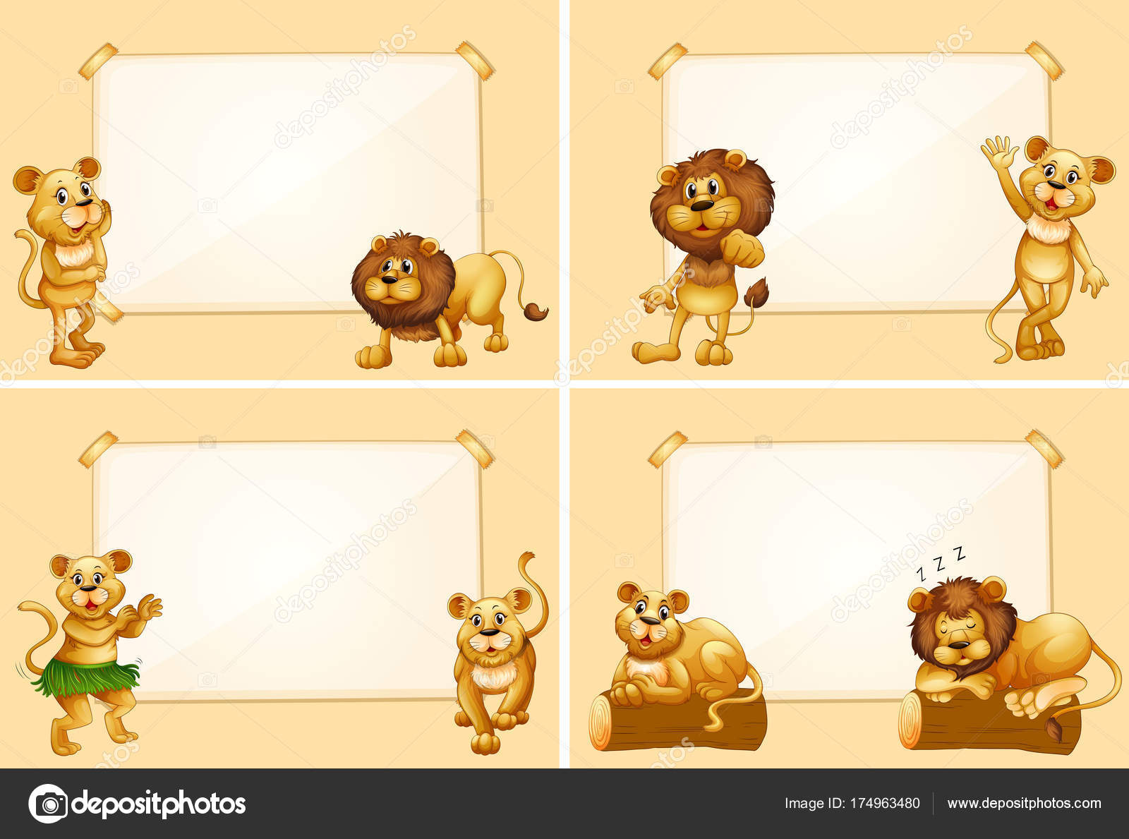 Four border templates with cute lions stock vector four border templates with cute lions stock vector maxwellsz