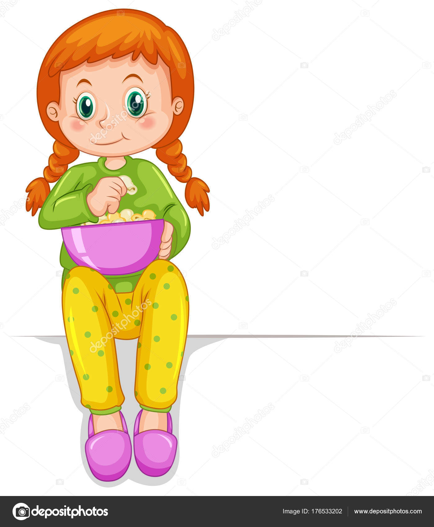 ポップコーンのボウルとかわいい女の子 ストックベクター