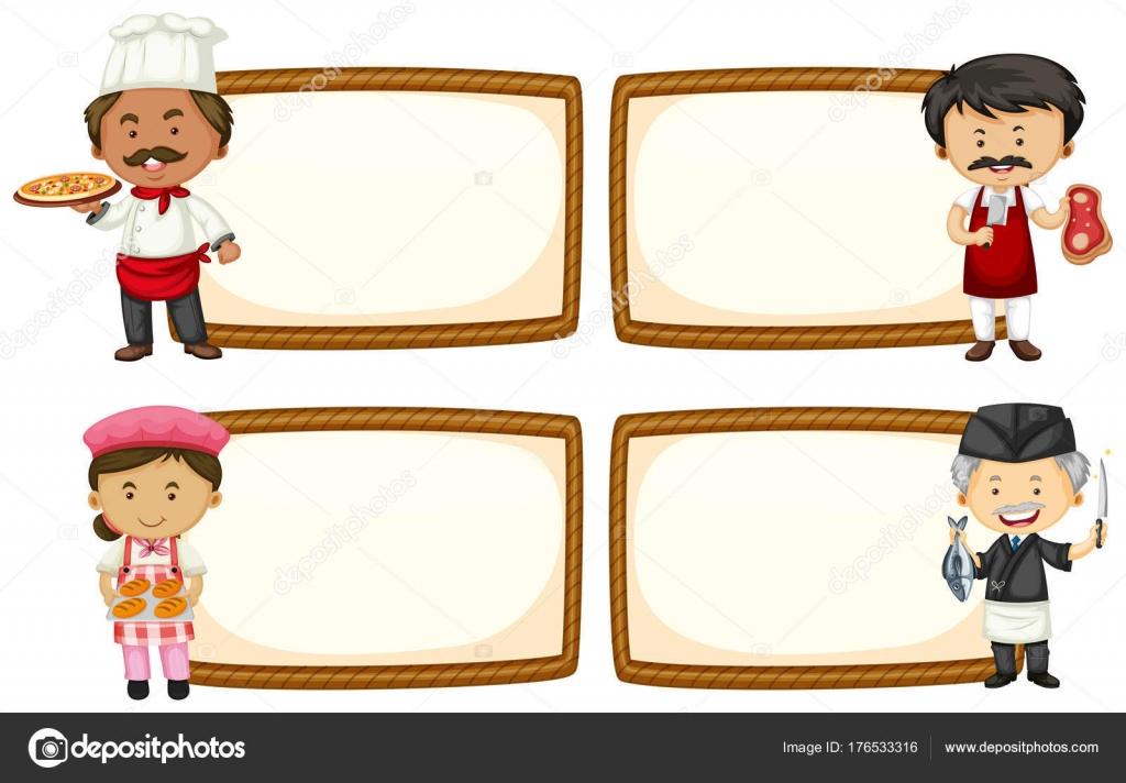 Plantilla de marco con cocinero y panadero — Archivo Imágenes ...