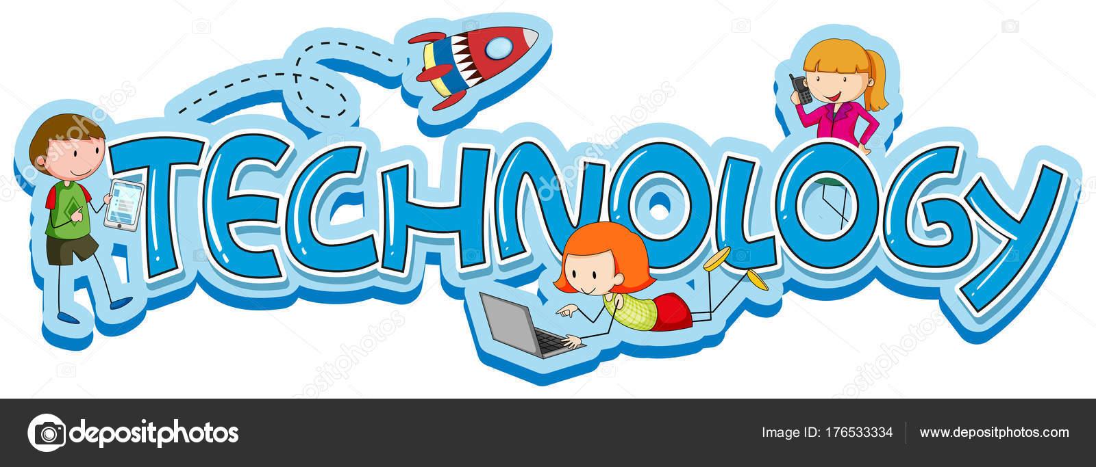 06439c6dc64146 Word ontwerp voor technologie met kinderen en gadgets illustratie — Vector  van ...