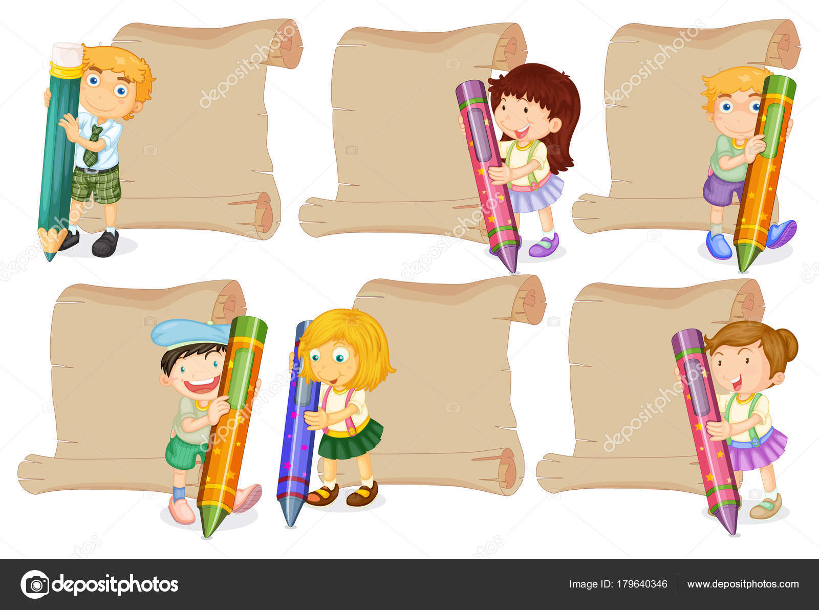Paper templates with kids and crayons — Stock Vector ...