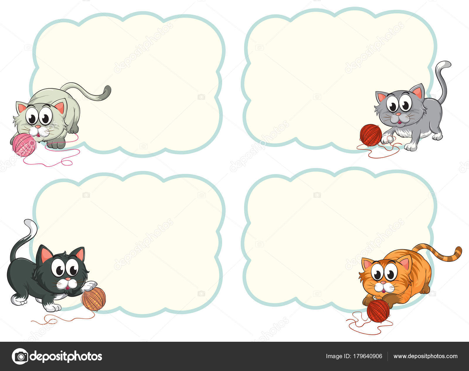 Border Templates With Cute Kittens Stock Vector Interactimages